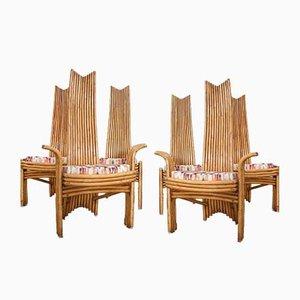 Sillas de comedor de bambú de Mcguire, años 70. Juego de 6
