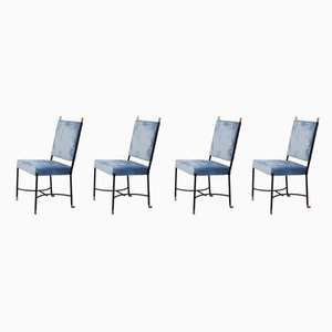 French Iron and Brass Dining Chairs by Bertrand, 1950s, Set of 6