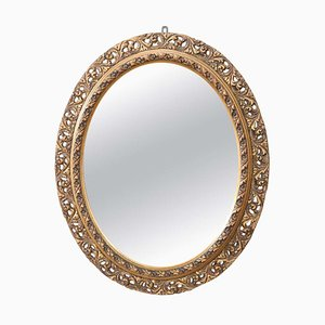 Antique Art Nouveau Carved and Gilded Wood Oval Wall Mirror, 1910s