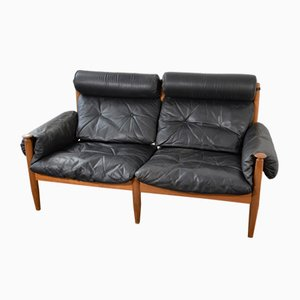 Swedish Black Leather 2-Seater Sofa by Eric Merthen, 1960s