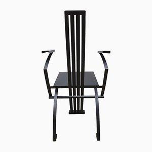 Chaise de Salle à Manger Style Memphis Vintage en Métal et Cuir Noir
