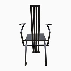 Vintage Metal and Black Leather Memphis Style Dining Chair from Inconnue