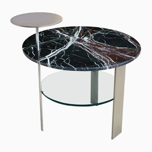 Red Levanto Marble & Satin Stainless Steel Coffee Table by Cupioli