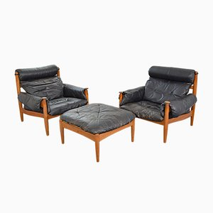 Swedish Armchairs and Ottoman Set by Eric Mehrten, 1960s