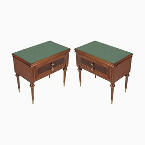 Mid-Century Walnut, Maple, and Brass Nightstands, Set of 2