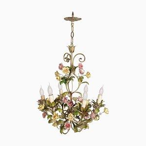 Antike italienische Jugendstil Deckenlampe aus Eisen & Keramik