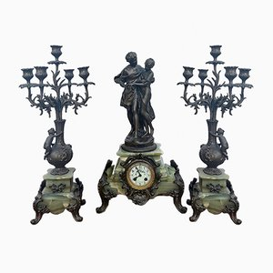 Antique Desk Clock and Candleholders Set by Math Moreau