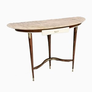 Italian Mahogany and pink Marble Console Table, 1950s