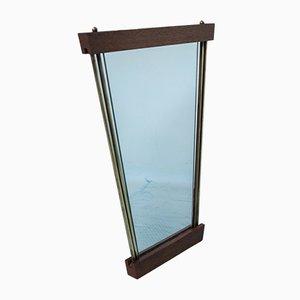 Dänischer Vintage Spiegel mit Rahmen aus Teak & Messing, 1960er