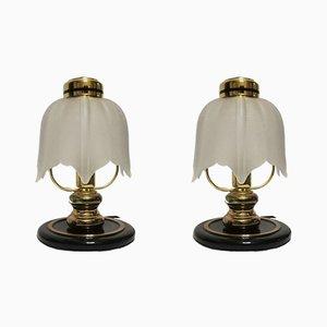 Vintage Italian Gilt Metal and Glass Table Lamps, 1970s, Set of 2