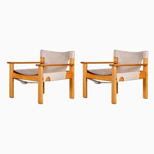 Model Natura Leather and Pine Easy Chairs by Karin Mobring, 1970s, Set of 2