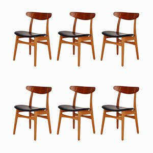 Teak and Oak Model CH30 Dining Chairs by Hans J. Wegner for Carl Hansen & Søn, 1960s, Set of 6