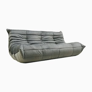 Vintage French Gray Velvet Togo 3-Seater Sofa by Michel Ducaroy for Ligne Roset