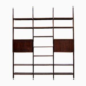 Italienisches Mid-Century Bücherregal aus Holz & Messing