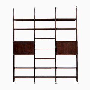 Mid-Century Italian Wooden and Brass Bookshelf