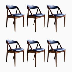 Dänische Modell 31 Esszimmerstühle aus Afromosia & Teak von Kai Kristiansen für Schou Andersen, 1960er, 6er Set