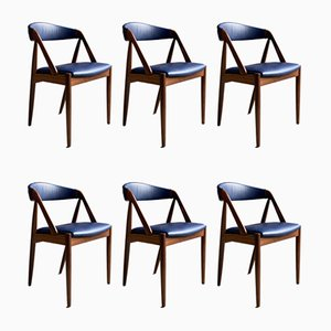 Danish Model 31 Afromosia Teak Dining Chairs by Kai Kristiansen for Schou Andersen, 1960s, Set of 6