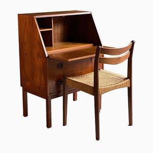 Escritorio danés de teca y silla, años 70. Juego de 2