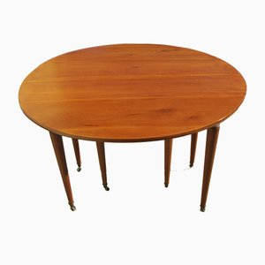 Round Cherry Veneer and Birch Extendable Dining Table, 1950s