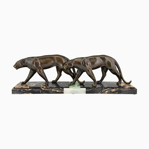 Art Deco Panthers Sculpture by Louis Albert Carvin, 1930s