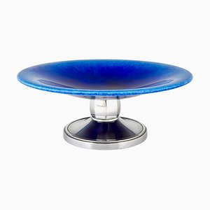 Art Deco Blue Ceramic and Chrome Fruit Bowl by Paul Milet for Sèvres, 1930s