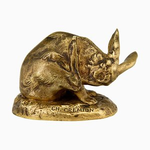 Antique Bronze Hare Sculpture by Charles Gremion, 1900s
