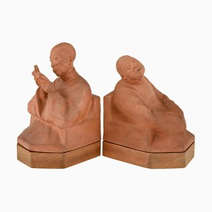 Art Deco Terracotta Bookends by Gaston Hauchecorne for Gaston Hauchecorne, 1920s, Set of 2