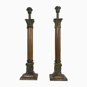 Mid-Century Empire Style Column Table Lamps, 1950s, Set of 2