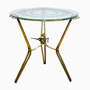 Tavolino da caffè in ottone e vetro, Italia, anni '40