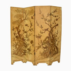 19th Century French Chinoiserie Lacquer Room Divider