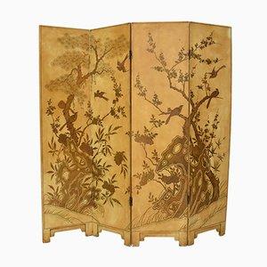 Biombo francés chinoiserie lacado, siglo XIX