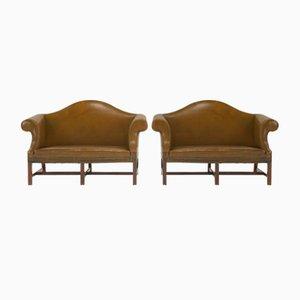 Vintage George II Style English Leather Camelback Sofas, Set of 2