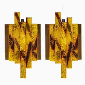 Dänische Mid-Century Kristallglas Wandlampen, 2er Set