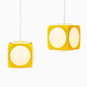 Space Age Modell Dice Deckenlampen in Gelb von Lars Schöler für Hoyrup Lamper, 1970er, 2er Set