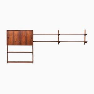 Mueble de pared modular de palisandro de teca de Kai Kristiansen para FM Møbler, años 60