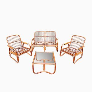 Vintage Bamboo and Rattan Living Room Set, 1970s