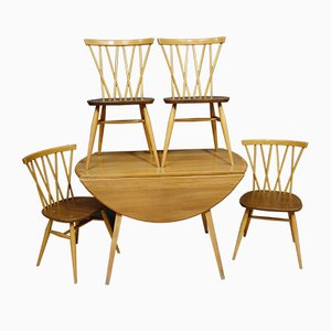 Dining Table & Chairs Set by Lucian Ercolani for Ercol, 1960s, Set of 5