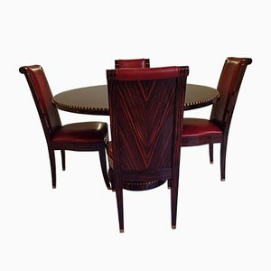 Dining Table & Red Leather Chairs Set, 1980s, Set of 5