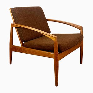 Danish Teak and Chocolate Brown Wool Paper Knife Lounge Chair by Kai Kristiansen for Magnus Olesen, 1960s