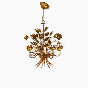 Hollywood Regency Gold Roses & Leaf Ceiling Lamp by Hans Kogl, 1950s