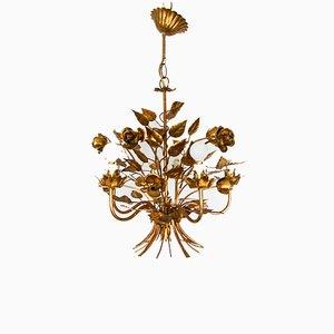 Lámpara de techo Hollywood Regency con hojas doradas de Hans Kogl, años 50