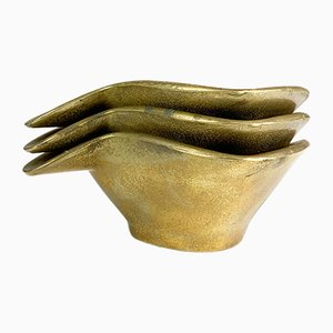 German Brass Ashtrays, 1950s, Set of 3