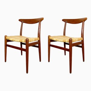 Danish Model W2 Dining Chairs by Hans J. Wegner for C.M. Madsen, 1950s, Set of 2