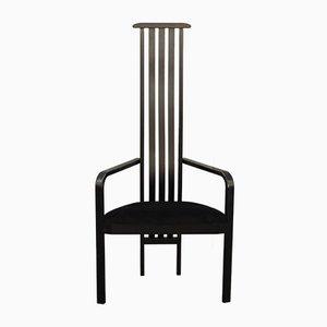 Chaise d'Appoint Noire par Vico Magistretti pour Poggi, Italie, 1980s