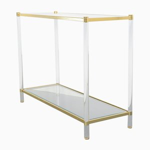 Mid-Century Brass and Lucite Console Table, 1970s