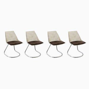 Chaises de Salle à Manger Vintage en Plastique et Tissu, Set de 4