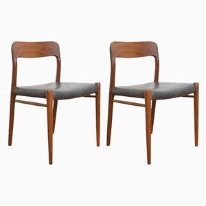 Dänische Mid-Century Esszimmerstühle aus Teak von Niels Otto Møller für J.L. Møllers, 1960er, 2er Set