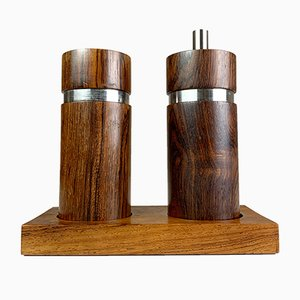 Danish Rosewood and Steel Pepper Mill and Salt Shaker Set by Sven Petersen for SAAP, 1960s, Set of 3