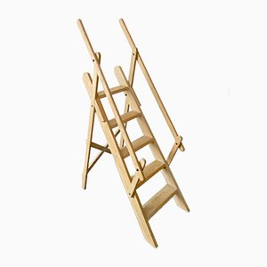 French Beech Library Step Ladder, 1970s