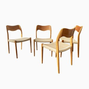 Teak Model 71 Dining Chairs by Niels Otto Møller for J.L. Møllers, 1950s, Set of 4